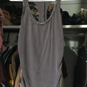 Grey blouse with silver details on sleeves XXS